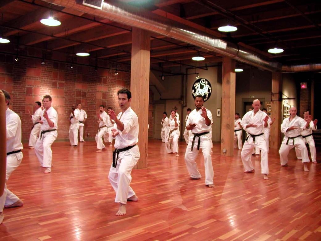 Group Shotokan Karate Practice at the beautiful Shotokan Karate of America - Kansas City Dojo