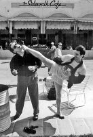 Jon Beltram and David Altman clowning on Venice Beach, 1992